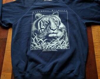 Vintage 90s Bengal Tiger Crewneck Sweatshirt Soft National Wildlife Federation
