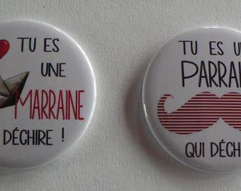 Duo Cadeau Parrain Marraine Décapsuleur Porte Clés Miroir de Poche Drapeau.