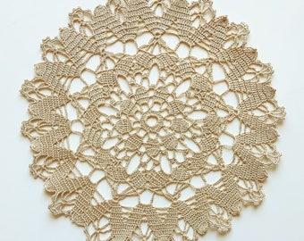 Beige handmade crocheted doily No.12