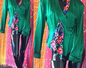 Party Silk Blouse NWT Disco Floral Silk Wrap Blouse Vintage 80s Couture Blouse
