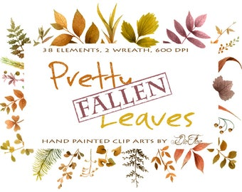 Greenery Fall Clipart Leaf Leaves Woodland Vector Clip Art Green Decor Watercolor Tiny Fallen Autumn Wreath Garland Wedding Illustration