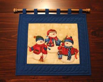 Wall Decoration - Handmade - Homemade - Bright Blue Snowman Trio - Snowmen - Hand-Quilted