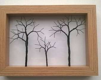 Wire Trees in wooden picture frame