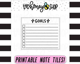 Goals | PRINTABLE NOTE TILE