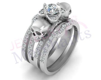 Genial Skull Engagement Ring With Double Band Set 2.55 Ct White Sapphire Round Cut  925 Sterling Silver