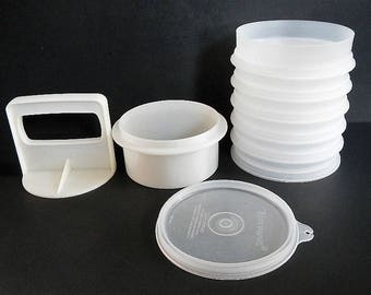 Vintage Tupperware Hamburger Press & 6 Keepers - sheer, white - 1960s - patties, burgers, freezer keepers, camping, summer cookout, boating