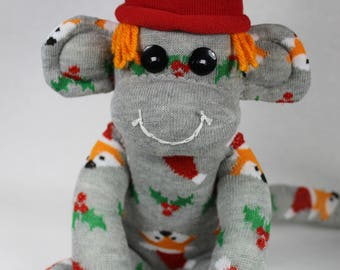 Christmas Sock Monkey Santa Fox Holly Berries, Gray, One-of-A-Kind, Unique Gift, Decoration, Holiday Decoration