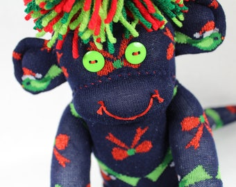 Sock Monkey, Holiday Birds and Bows, Christmas, Navy Blue Green Red, Christmas Birds, Handmade Gift, Nondenominational Unisex Gift