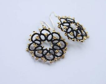 Black lace earrings pink or golden beads OEKO-TEX trendy jewelry round earrings- woman gift under 20 - sterling silver - filigree earrings