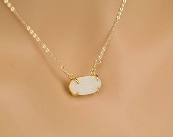 Oval Druzy Necklace, Choker, Sparkle, Dainty Jewelry, Titanium Plated Druzy, Kendra Inspired,