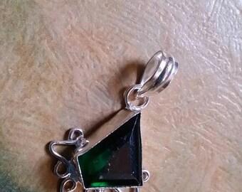 Holiday SALE 85 % OFF Green Quartz Pendant  Gemstones  . 925 Sterling Silver