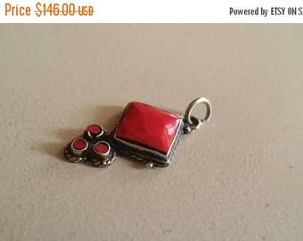 Holiday SALE 85 % OFF Red Coral   Pendant Gemstones  . 925 Sterling Silver
