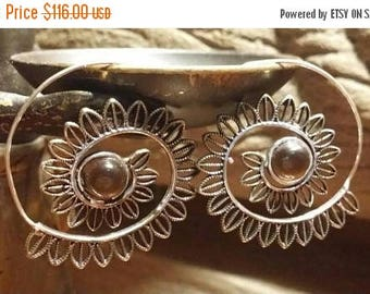 Holiday SALE 85 % OFF Tiger eye  Golden brass 925 Sterling Silver  hoop Earrings Tribal Ethnic Spiral