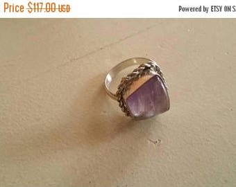 Holiday SALE 85 % OFF Amethyst Ring Gemstone 925 Sterling Silver   Size 6