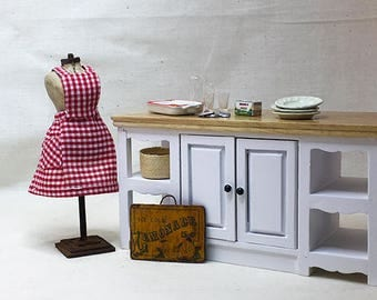 Miniature Dollhouse Vintage Inspired Apron with Bib - Red and White Check Pattern
