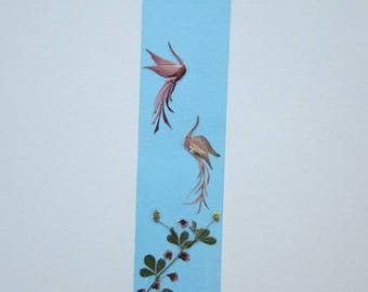 """Handmade unique bookmark """"I'm following you"""" - Pressed flowers bookmark - Unique gift - Paper bookmark - Original art collage."""