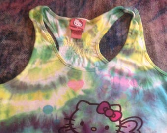 Women's Size Large Up-Cycled Tie Dye Hello Kitty Tank Top