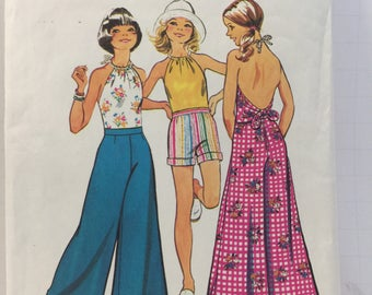 1970s, Girls Halter Top, Simplicity 5652, Sewing Pattern, Wide Leg Pants, Shorts, Turn Back Cuffs, Drawstring Halter, Summer Beach Clothes