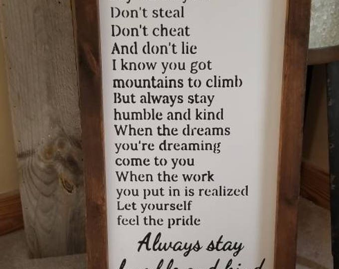 Featured listing image: Always Stay Humble And Kind Farmhouse Decor Framed Handmade Rustic Wood Sign Fixer Upper Style