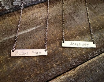 16k Gold & Rose Gold personalized bar necklace