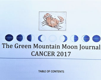 The Green Mountain Moon Journal, Cancer 2017, Moon Cycle, Intuitive writing, Expressive writing, memoir, Summer Solstice,  instant download