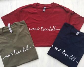 One Tree Hill V Neck Handwriting Script T Shirt - Tree Hill Ravens - North Carolina