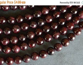 15% off SALE 8mm Garnet Stone Beads, Deep Red Gemstone Beads, Round Smooth Garnet Beads 10 Beads, Deep Red Stone Beads