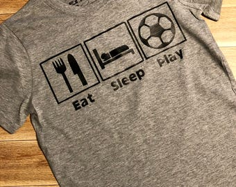 Eat Sleep Play Personalized 3d printing t-shirts Grey black white, Play t-shirt any size adult, any size kids