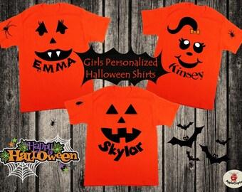 Girls Personalized Halloween Shirt, Cute Pumpkin Face Shirt, Kids Simple Halloween Costume, Custom Pumpkin Shirt PERSONALIZED, Applecopter