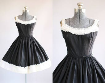 Vintage 1950s Dress / 50s Cotton Dress / Pixie of California Black Dress w/ White Ruffled Trim S