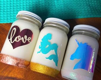 Decorative Glitter mason Jar Candles Mermaid Candle Unicorn Candle Love Rose Gold Candle Gold Glitter 8 oz Size Soy Coconut Wax Blend Easter