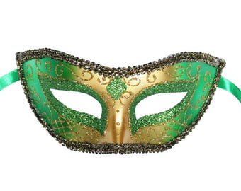 Green Venetian Mask Masquerade Ball Prom Party Mardi Gras Halloween Costumes Wedding Decoration 4F4A, SKU 7K12