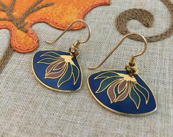 "Laurel Burch ""Pond Lily"" Dangle Earrings - Blue"