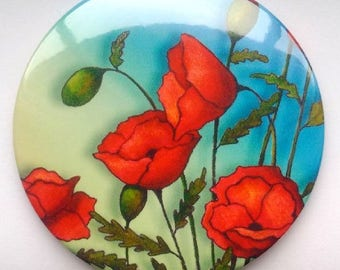"Purse or Pocket Mirror, 3.5"", Beautiful Red Poppies, From Original Painting, Handy Mirror in Organza Bag, Small Gift Idea"