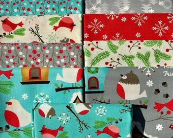 Jingle Birds Fat Quarter Bundle - Keiki - Moda- 9 fat quarters  100% Cotton - Christmas fabric, Holiday fabric, birds, birdhouse snowflakes