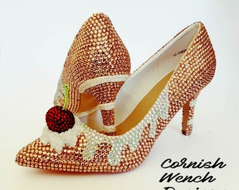 Custom Made Crystal Encrusted Cake heels, Bridal, Wedding, Events, Yummy Wearable Art