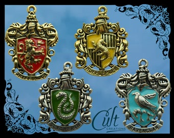 Harry Potter sterling silver / faux leather necklace with choice of house charm Gryffindor, Slytherin, Ravenclaw and Hufflepuff