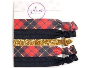 Tartan Buffalo Plaid Hair Ties, Christmas Gifts Under 10, Stocking Stuffers for Women, Stocking Stuffer Teen Girls, Hair Elastics, Set of 5