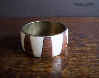 Vintage wood brass bone bracelet, Africa inspired  bangle, big statement jewelry,brown and cream