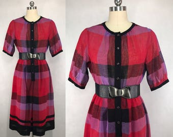 Vintage Japanese Plaid Dress / Fall Dress / Party Dress / Day Dress / Made in Japan / Size Small Medium