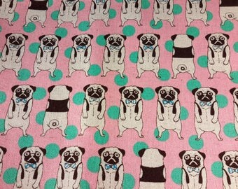 Pug with bowtie. Cosmo textile fabric.Pink. Green. . Japanese fabric. Japanese cotton and linen fabric. Fabric by half yard or half meter