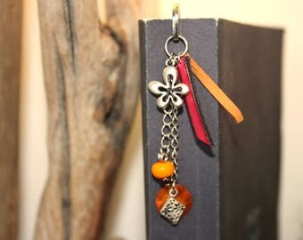 "Bookmarks personalize ""Flower"" orange & fuchsia"