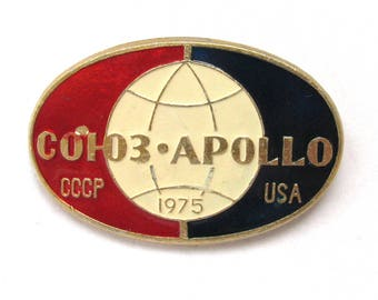Space, Soyuz-Apollo 1975, Cosmos,  badge, Soviet Vintage metal collectible pin, Made in USSR, 1970s, 70s