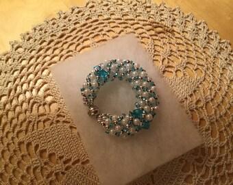 Handmade Russian Spiral Bracelet/ Beaded Bracelet/Czech glass bead/faux pearl/Russian Spiral