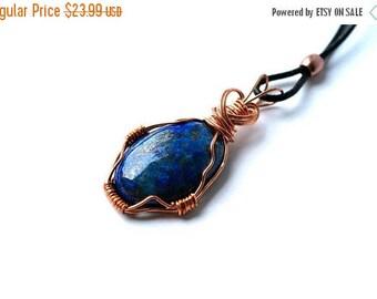 XMASINJULY Wire-wrapped gemstone, copper necklace, lapis lazuli necklace, healing gemstones, wire-wrapped, healing gemstone, chakra jewelry,