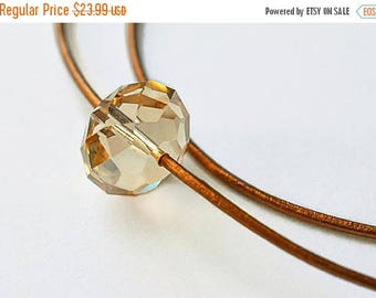 XMASINJULY Double Leather Choker - Swarovski Crystal Necklace - Leather Collar - suede choker - choker necklace - crystal jewelry - copper j