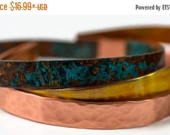 XMASINJULY Stackable Copper Bracelets - Patina bracelet - Copper Jewelry - copper cuff - hammered copper - rustic copper jewelry - boho
