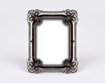 Small Burgundy Picture Frame, Fancy Strass Photo Frame, Antique Black Metal, Gypsy Boho Wedding, Hippy Chic Baptism, Place Tag, Name Holder