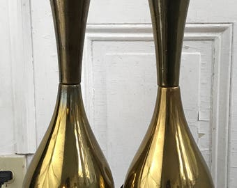 Vintage pair mid century brass table lamps