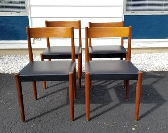 Danish Mid Century Modern Dining Chairs 4 set by Frem Røjle
